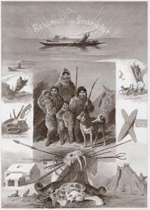 Affiche utilisée en 1880 par le Carl Hagenbeck's Thierpark pour annoncer la présence des Inuits à Hambourg.