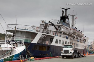 The Lyubov Orlova in the St. John's harbor. Sept 2012. So sad to see the poor shape it is in.