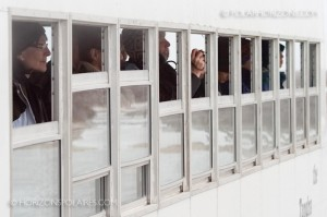 People observing the polar bears from the tundra buggy, Churchill, Manitoba