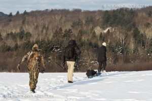 On our way to photograph the Northern Hawk Owl, Low Quebec, February 2011
