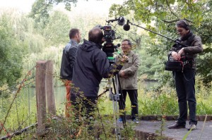 Johannes Lampe being interviewed in front of the pond where the hunt seal was conducted. Berlin Zoo.