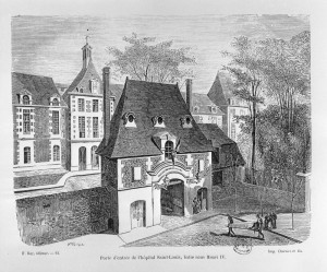 Main entrance of the Saint-Louis Hospital, 40 Bichat street, Paris