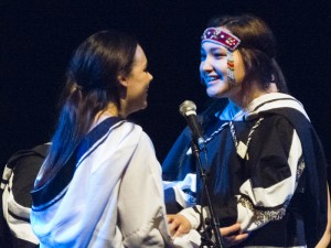 Throat signing by Rita Claire and Kristen, both from Iqaluit.