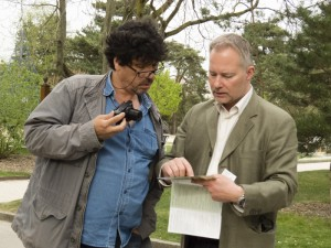 Jean-François Bélanger and his cameran, Carlos, preparing for the interview at the Jardin d'acclimatation. Paris, April 2015.