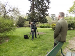 Setting up for the interview in the Bois de Boulogne.
