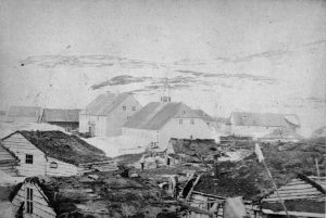 Hopedale's Moravian missionary buildings and Inuit houses.