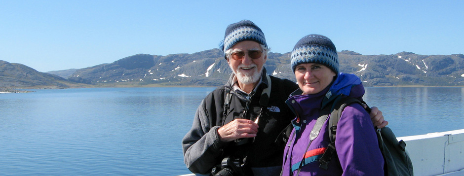 Hans Blohm and France Rivet near Hebron, Labrador.
